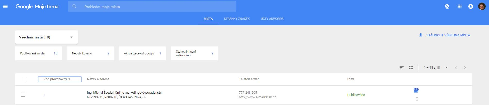 Jak udělit práva pro Google stránku v Google Moje firma?